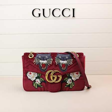 Gucci新款天鹅绒单肩包专柜品质443496石榴刺绣