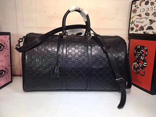 gucci旅行手提包全皮款 206500黑色GG压花