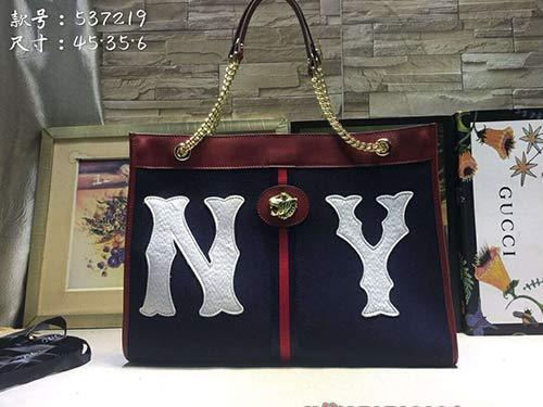 Gucci推出NY合作系列女士手提包37219藍色磨砂NY刺绣